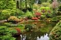 Картинка деревья, дизайн, пруд, парк, камни, дорожка, США