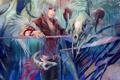 Картинка оружие, дракон, арт, скелет, рога, коса, парень