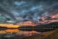 Картинка закат, холмы, вечер, озеро, ветка, тучи