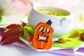 Картинка листья, суп, чашка, тыква, блюдце