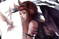 Картинка птица, голубь, Девушка, крылья, рога