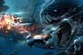 Картинка взрыв, корабль, погоня, Монстр, пасть