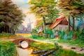 Картинка деревья, пейзаж, цветы, мост, дом, ручей, рисунок