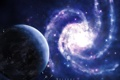 Картинка планета, спираль, галактика, звездолеты