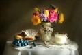 Картинка тюльпан, текстура, натюрморт, булка, роза, гербера, молоко