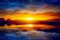 Картинка солнце, пейзаж, закат, природа, озеро