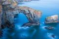 Картинка море, скалы, арка, Уэльса, национальный парк Пембрукшир, зеленый мост Уэльса