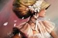 Картинка девушка, цветы, лепестки, арт, профиль, головной убор