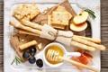 Картинка виноград, яблоки, закуска, мед, розмарин, ветчина, еда