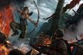 Картинка девушка, огонь, прыжок, лук, ярость, Tomb Raider, бойцы