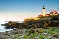 Картинка море, дом, камни, скалы, маяк, мыс