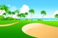 Картинка море, небо, трава, пальмы, лодка, вектор, парус
