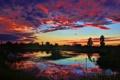 Картинка небо, облака, деревья, озеро, отражение, зарево