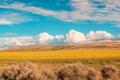 Картинка поле, осень, небо, облака, горы, тучи, кусты
