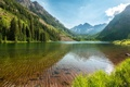 Картинка лето, горы, озеро, отражение, берег