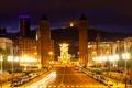 Картинка дорога, ночь, огни, проспект, фонари, башни, Испания