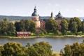 Картинка замок, река, Швеция, деревья, Gripsholms