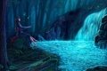 Картинка лес, девушка, ночь, камень, водопад, дух, огоньки