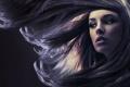 Картинка взгляд, девушка, волосы, шатенка, полумрак
