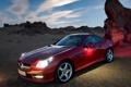 Картинка авто, красный, пустыня, мерседес