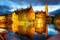 Картинка Брюгге, ночь, канал, огни, Бельгия, дома, мост