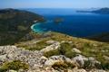 Картинка горизонт, море, лагуна, скала, яхты, бухта, синева