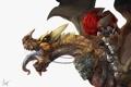 Картинка язык, фантастика, дракон, наездник, art