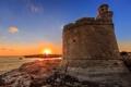 Картинка пейзаж, скалы, рассвет, маяк, крепость, Balearic Islands, Ciudadela