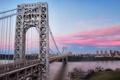 Картинка город, река, Нью-Йорк, мост Джорджа Вашингтона