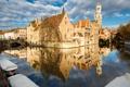 Картинка Брюгге, Бельгия, дома, мост, лодка, канал