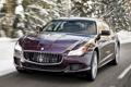 Картинка снег, деревья, Maserati, Quattroporte, скорость