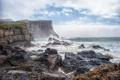 Картинка брызги, облака, скалы, шторм, волны, камни, море