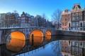 Картинка light, bridge, water, Amsterdam, buildings, canal