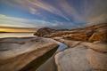 Картинка скала, камни, океан, рассвет, побережье, утро