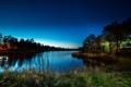 Картинка река, трава, небо, лето, вечер, берег, деревья