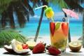 Картинка клубника, трубочка, лето, океан, кокос, лайм, коктейль