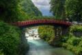 Картинка лес, горы, мост, река, Япония, Japan, камни.