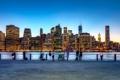 Картинка город, здания, Нью-Йорк, небоскребы, вечер, USA, США