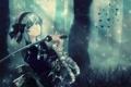 Картинка голубой, обои, меч, аниме