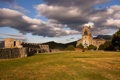 Картинка grass, clouds, hills, ruin, church