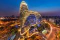 Картинка город, огни, здания, вечер, КНР, Пекин, 望京SOHO