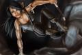 Картинка лук, пещера, лара крофт, Tomb raider, девушка, прыжок, лицо