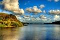 Картинка лес, облака, пейзаж, река