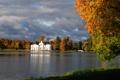 Картинка осень, небо, листья, пруд, сад, архитектура, Пушкин
