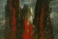 Картинка лес, небо, абстракция, лошадь, картина, арт, бег