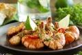 Картинка Fried shrimp with soy-ginger sauce, Блюдо из морепродуктов, Жареные креветки с соевым-имбирным соусом