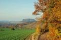 Картинка поле, осень, небо, деревья, гора, Германия