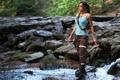 Картинка взгляд, девушка, оружие, майка, Tomb Raider, косплей, Lara Croft