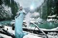 Картинка зима, девушка, река