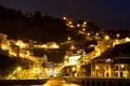 Картинка ночь, огни, гора, дома, склон, фонари, Испания